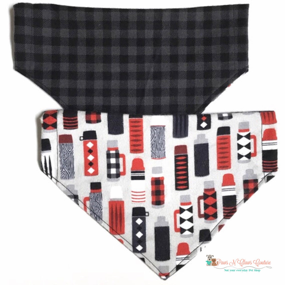 Reversible thermos and plaid Bandana - Paws N Claws Couture