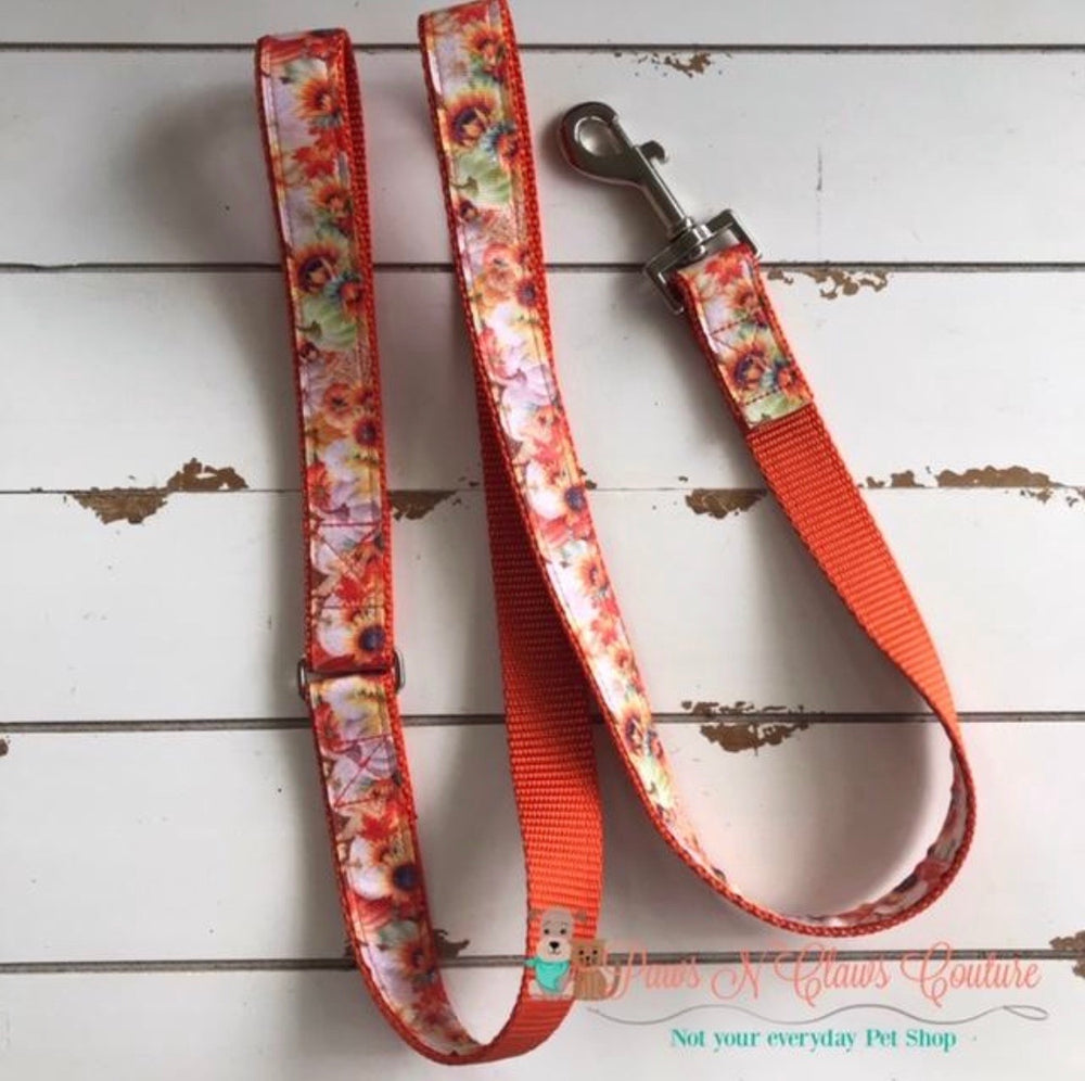 "1"" Sunflower and pumpkins Dog Harness, Leash Available - Paws N Claws Couture"