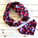 Deer Buffalo Plaid infinity Scarf or Bandana - Paws N Claws Couture