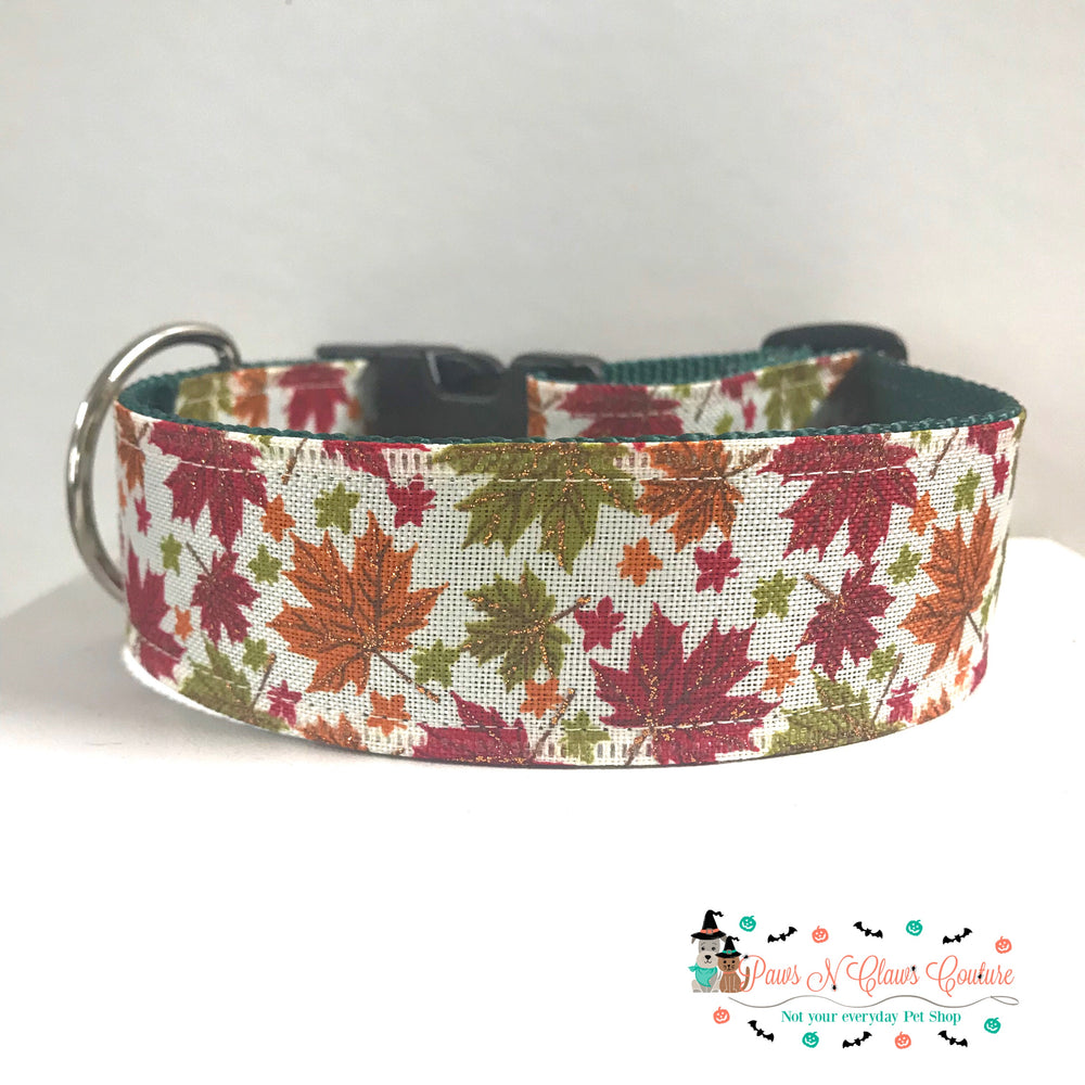 "1.5"" Fall leaves Dog Collar - Paws N Claws Couture"