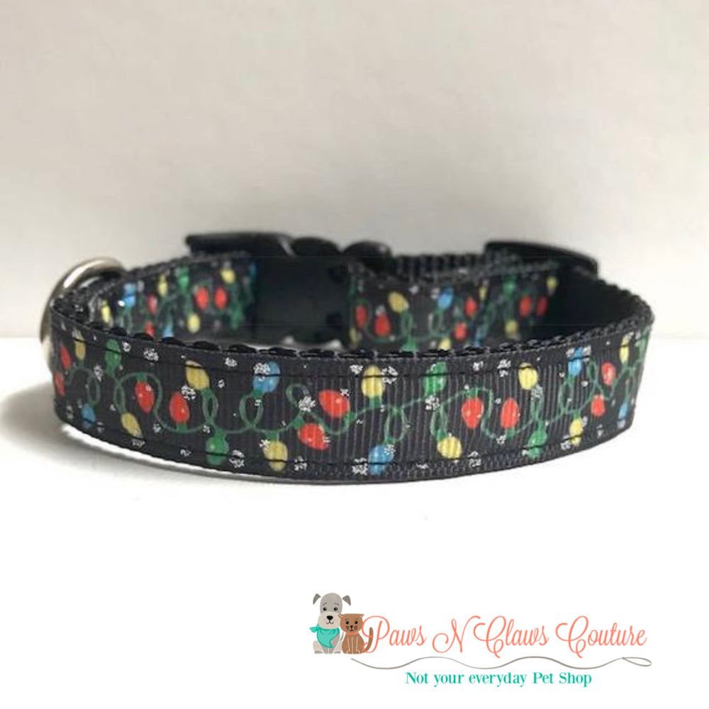 "5/8"" Glitter & Christmas Lights Dog Collar - Paws N Claws Couture"