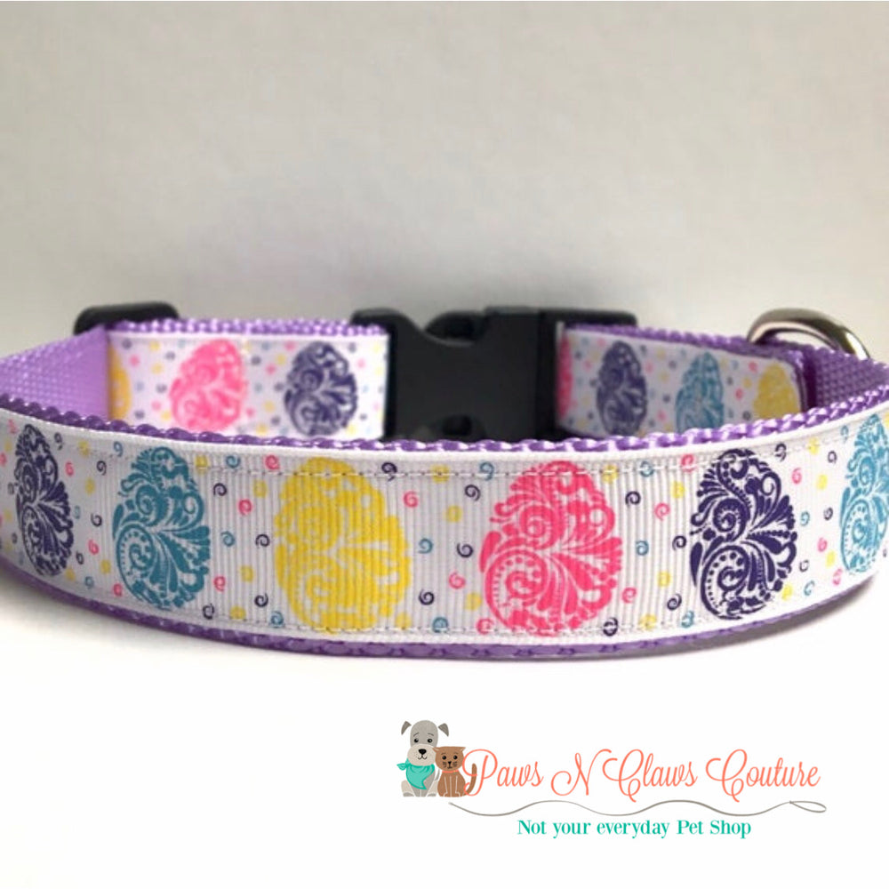 "1"" Swirl Easter eggs Dog Collar - Paws N Claws Couture"