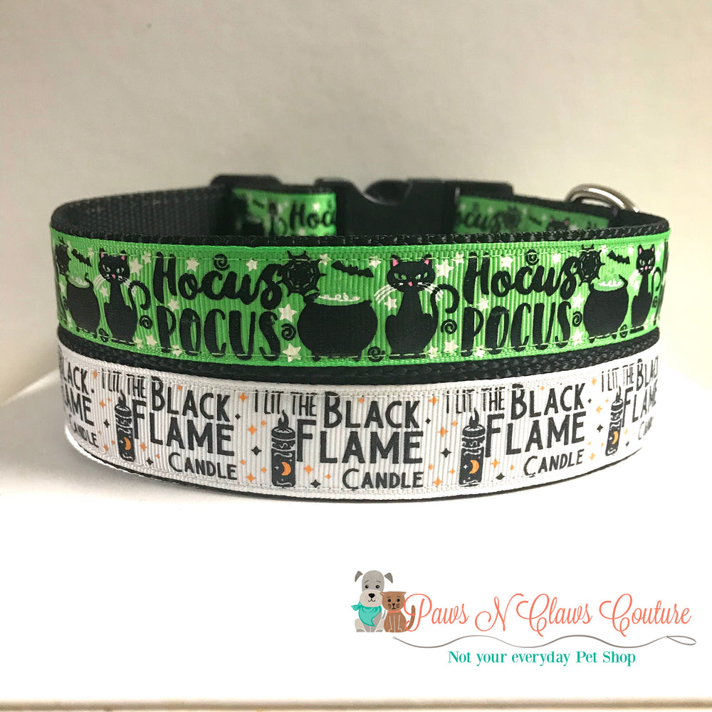 "1"" Hocus Pocus on green or Black flame candle Dog Collar"