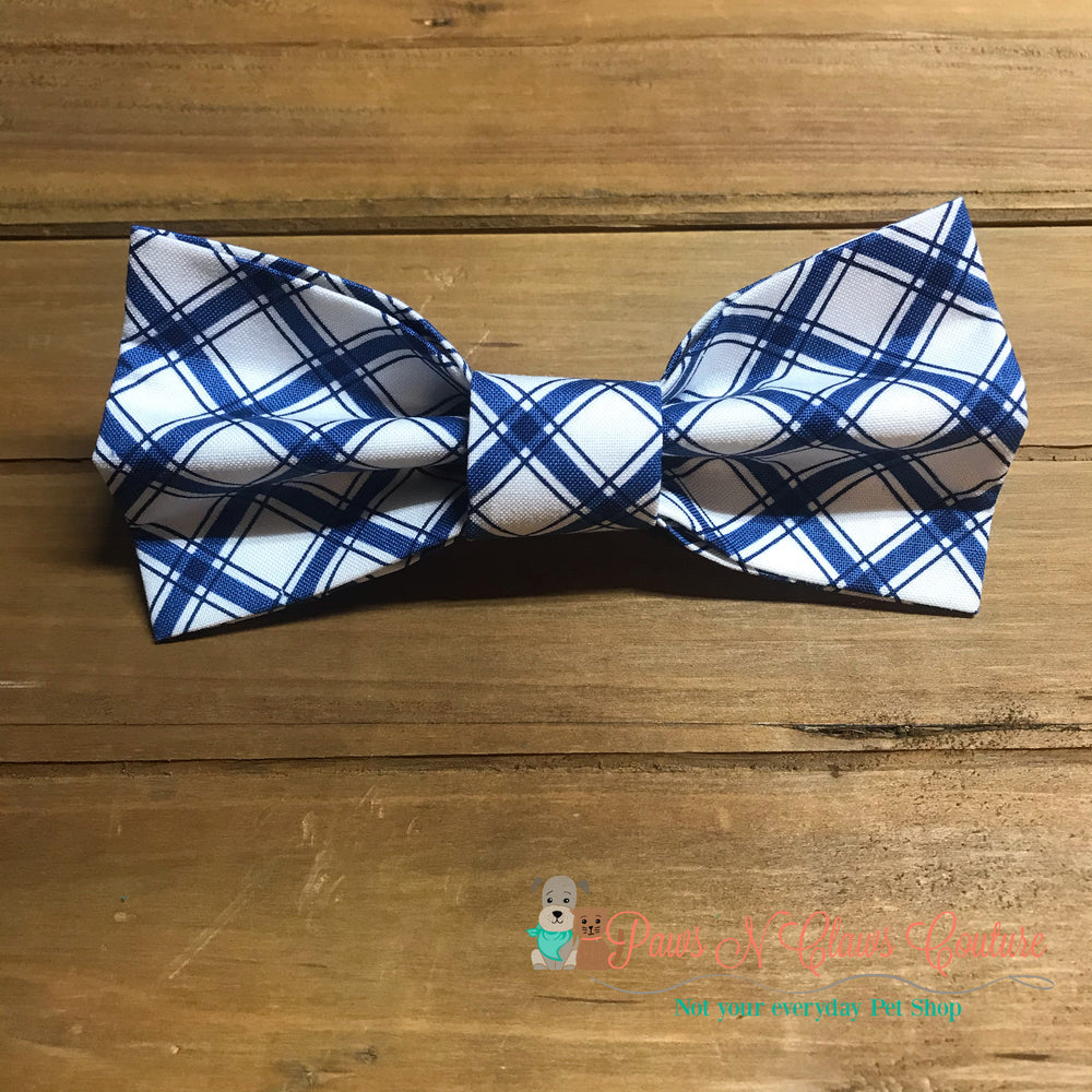 Blue plaid Bow Tie - Paws N Claws Couture