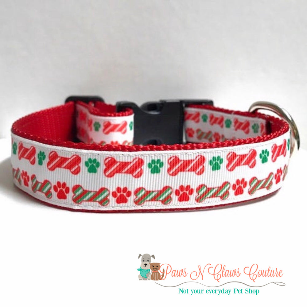 "1""  Christmas Bones Dog Collar"