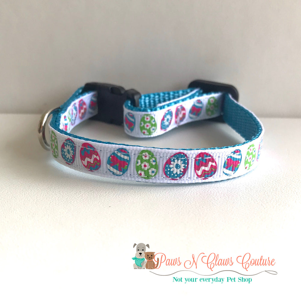 "3/8"" All about the Easter Eggs Cat or Small Dog Collar - Paws N Claws Couture"