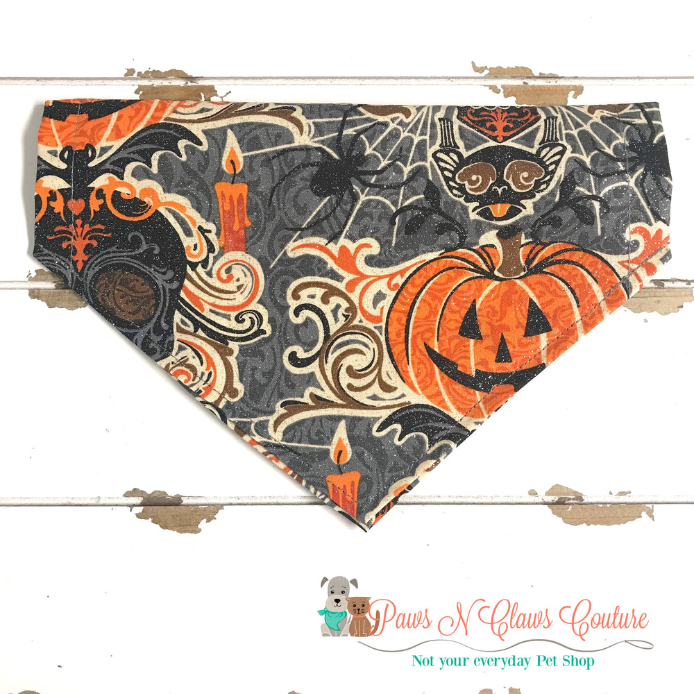 Glitter jack o lantern and skulls Bandana - Paws N Claws Couture