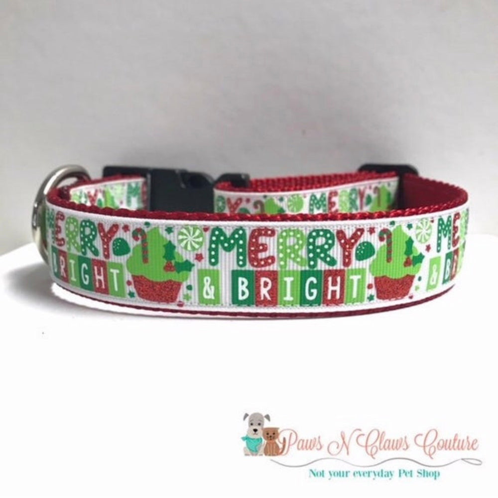 "1"" Merry and bright Dog Collar - Paws N Claws Couture"