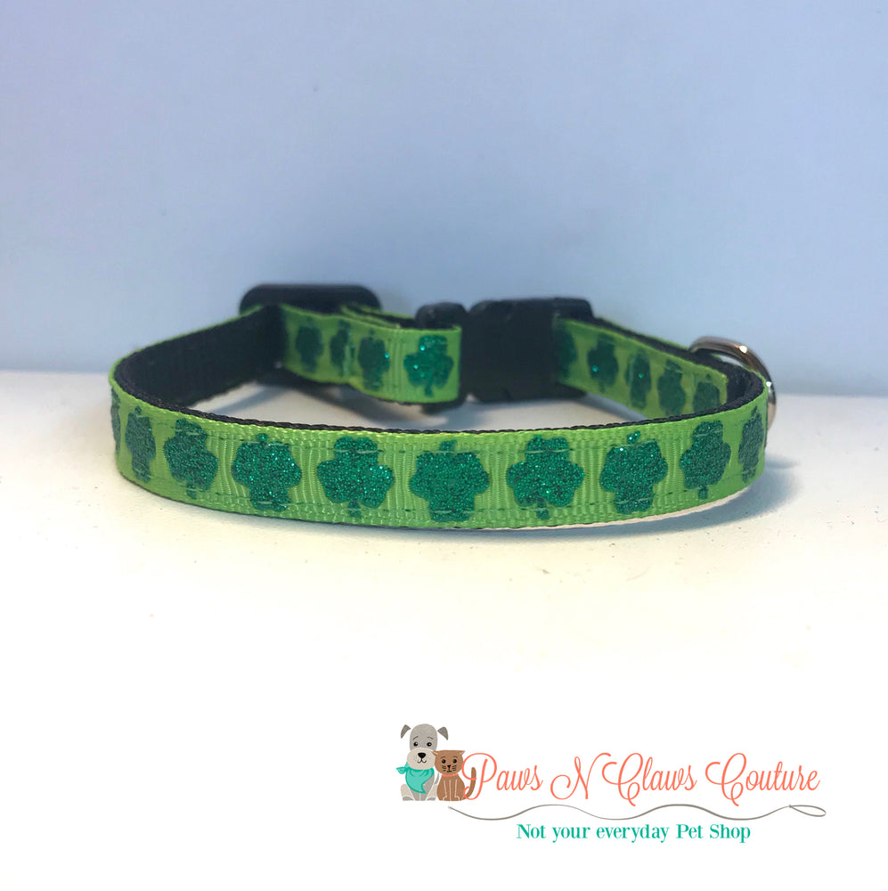 "3/8"" Glitter clovers on apple green Cat or Small Dog Collar - Paws N Claws Couture"