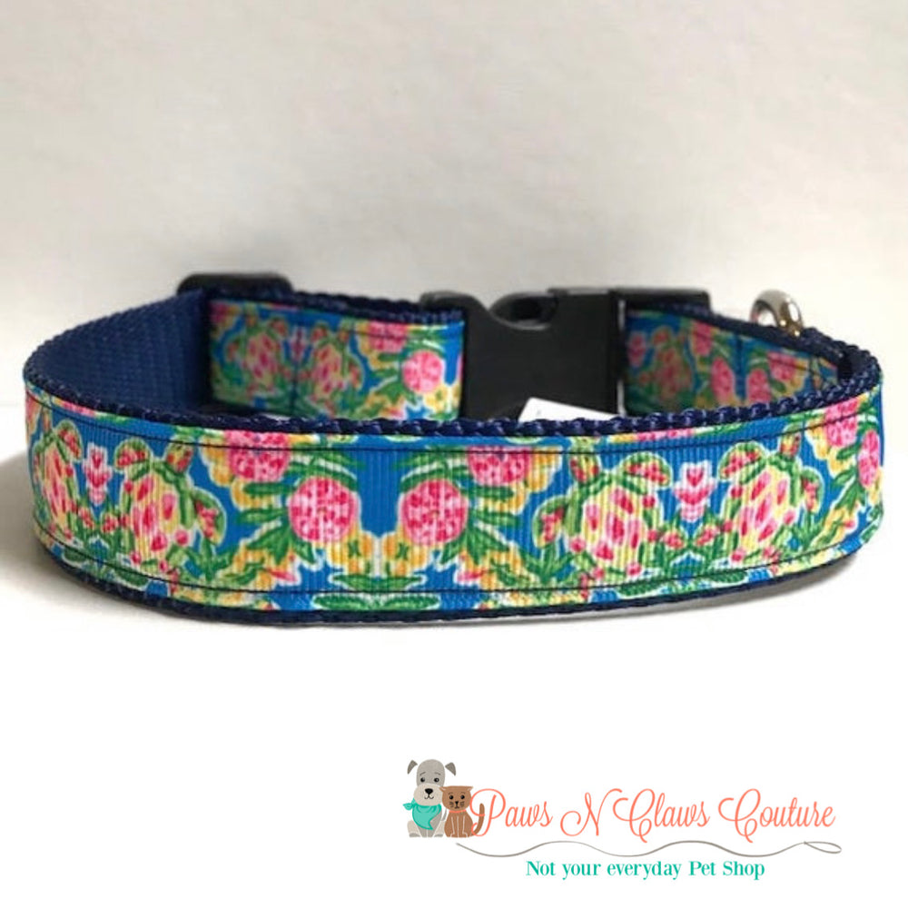 "1"" Sea turtles, lily inspired Dog Collar"