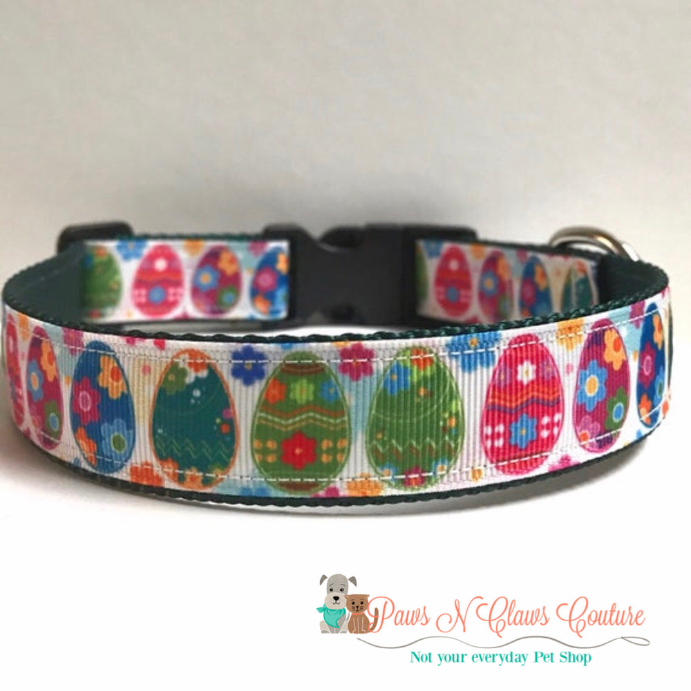 "1"" Decor Easter Eggs Dog Collar - Paws N Claws Couture"