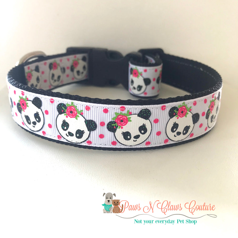 "1"" Panda Bears Dog Collar - Paws N Claws Couture"