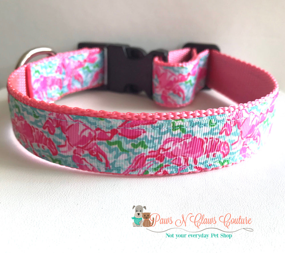 "1"" Lily inspired Lobsters Dog Collar"
