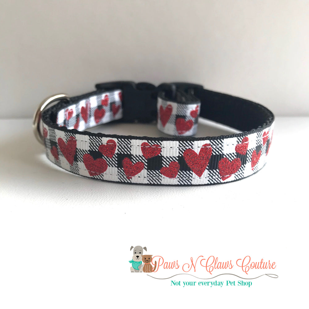 "5/8"" Hearts on plaid Dog Collar"