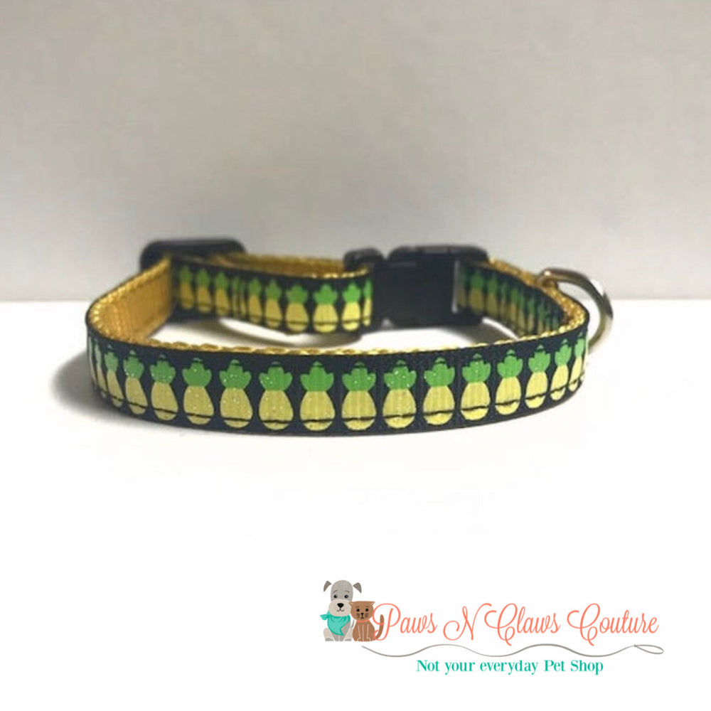 "3/8"" Mini Pineapples Cat or Small Dog Collar - Paws N Claws Couture"