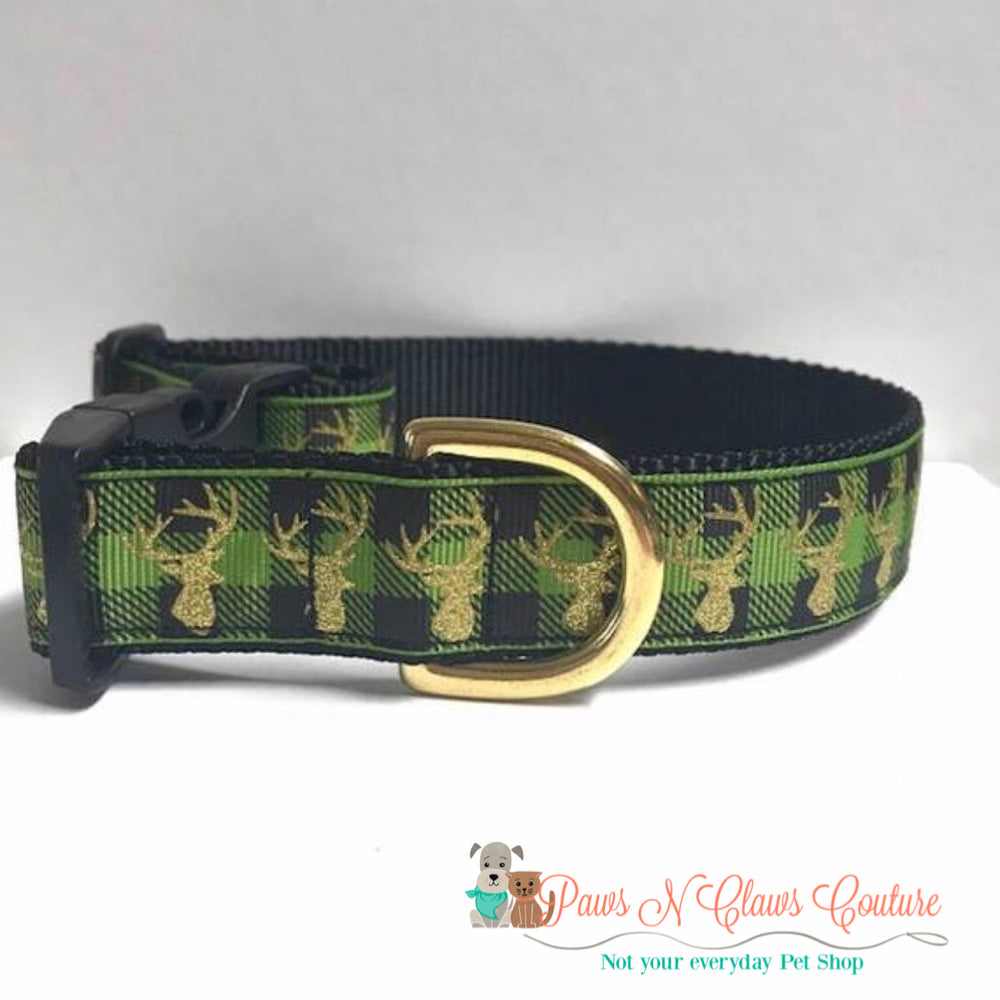 "1"" Gold glitter deer on green plaid Dog Collar - Paws N Claws Couture"