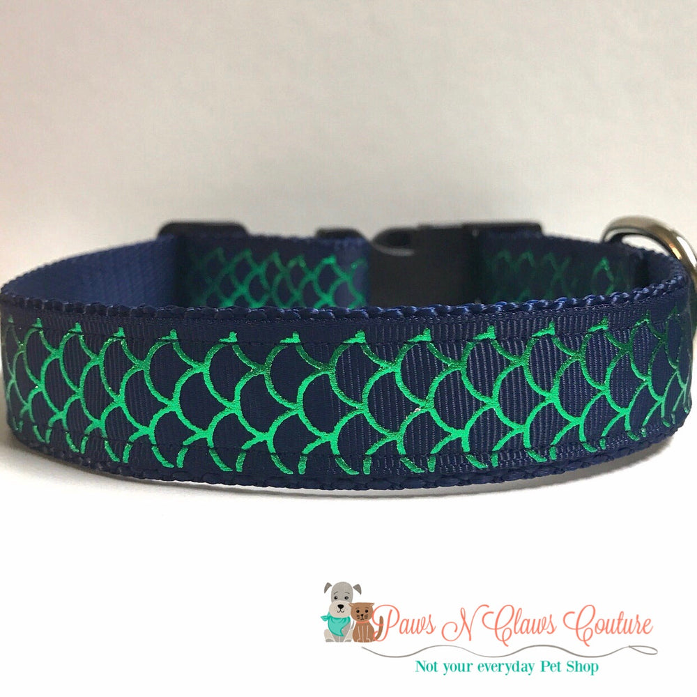 "1"" Navy fish scales Dog Collar, Leash Available"