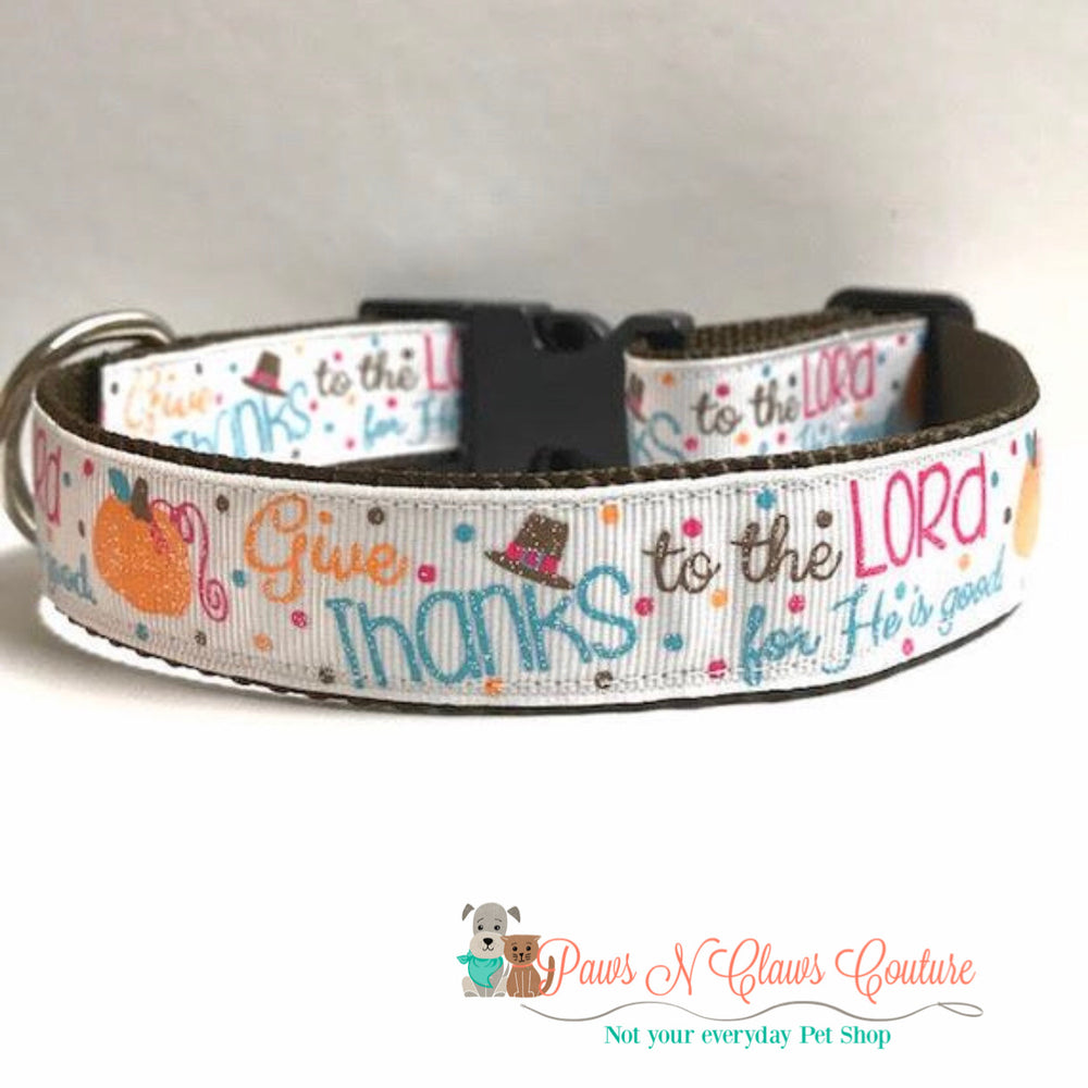 "1"" Give thanks Dog Collar"