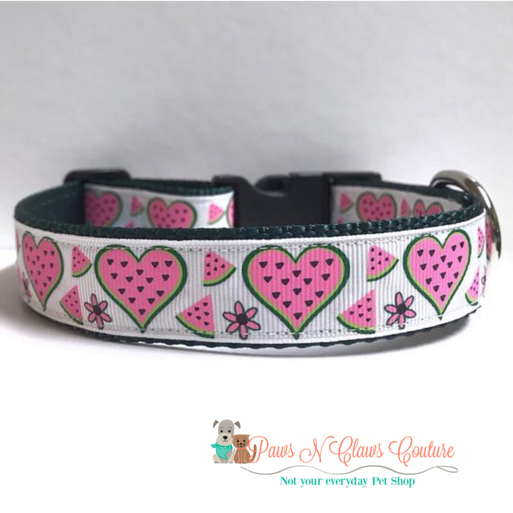 "1"" Watermelon Hearts Dog Collar"