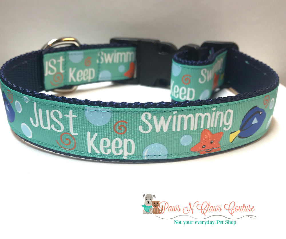 "1"" Just keep swimming Dog Collar - Paws N Claws Couture"