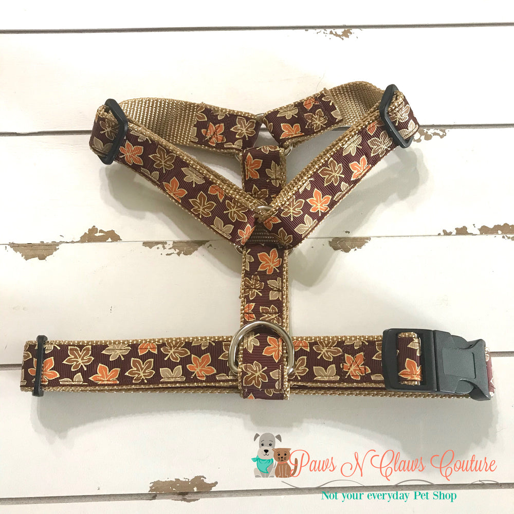 "1"" Glitter Leaves Dog Harness, Leash Available - Paws N Claws Couture"