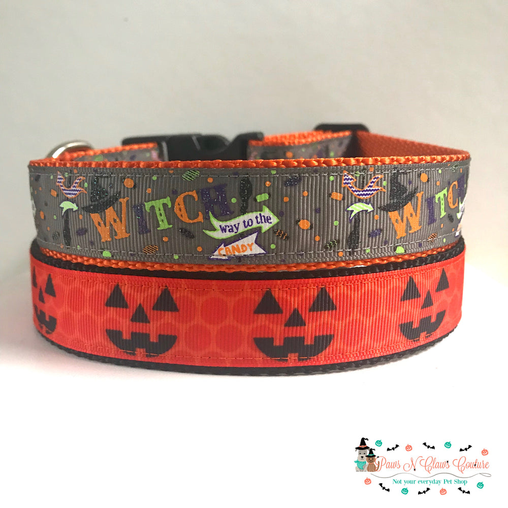 "1"" Witch way to the candy or Jack o lantern Dog Collar - Paws N Claws Couture"
