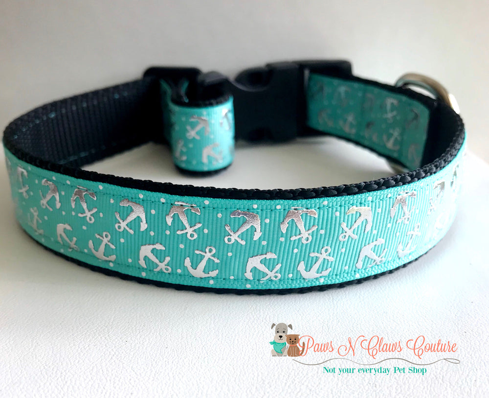 "1"" Anchors on teal Dog Collar - Paws N Claws Couture"