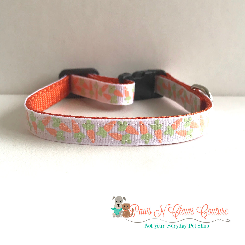 "3/8"" Glitter Carrots Cat or Small Dog Collar - Paws N Claws Couture"