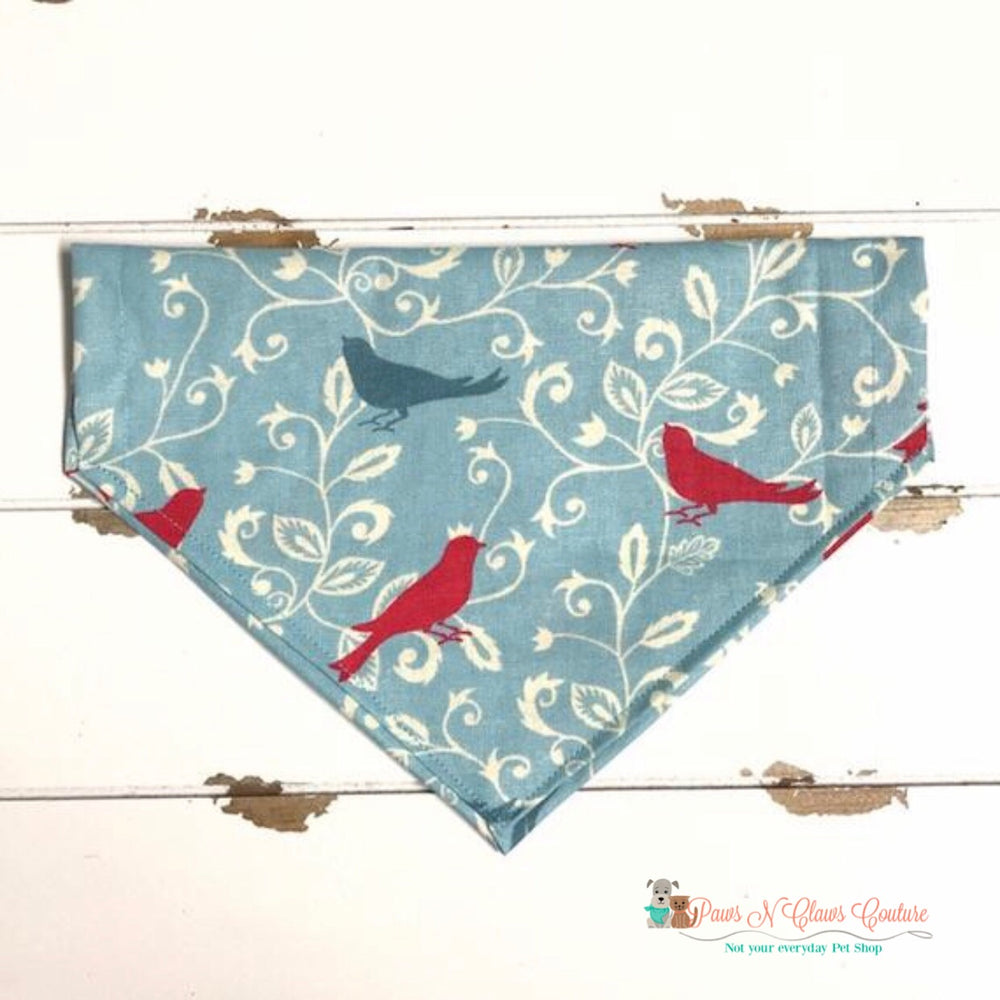 Spring songbirds on blue Bandana