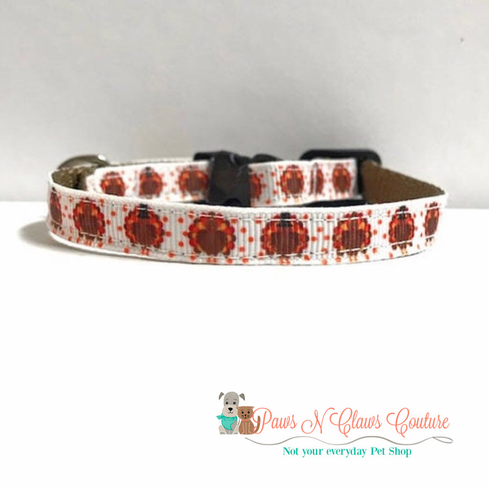 "3/8""  mini Turkeys Cat or Small Dog Collar - Paws N Claws Couture"
