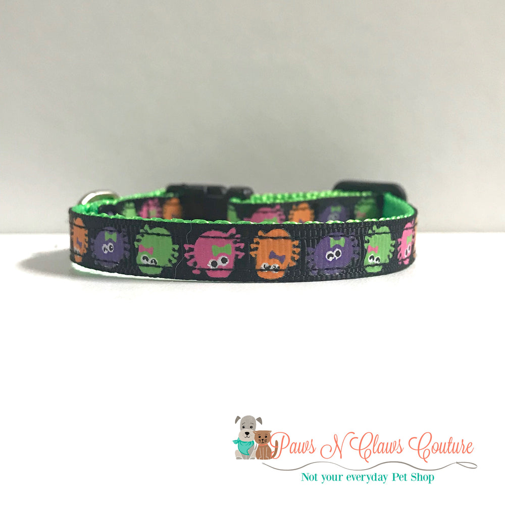 "3/8"" Halloween spiders Cat or Small Dog Collar - Paws N Claws Couture"