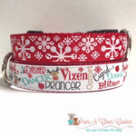 "1"" Reindeer names or snowflakes Dog Collar"