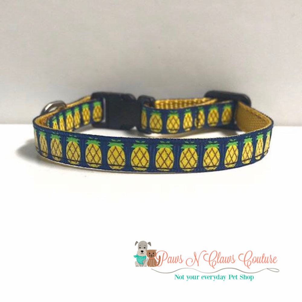 "3/8"" Pineapples on navy Cat or Small Dog Collar - Paws N Claws Couture"