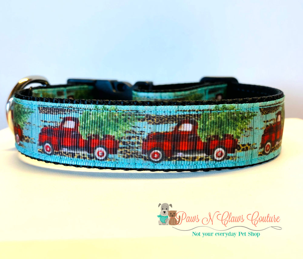 "1"" Buffalo Plaid Truck on teal Dog Collar - Paws N Claws Couture"