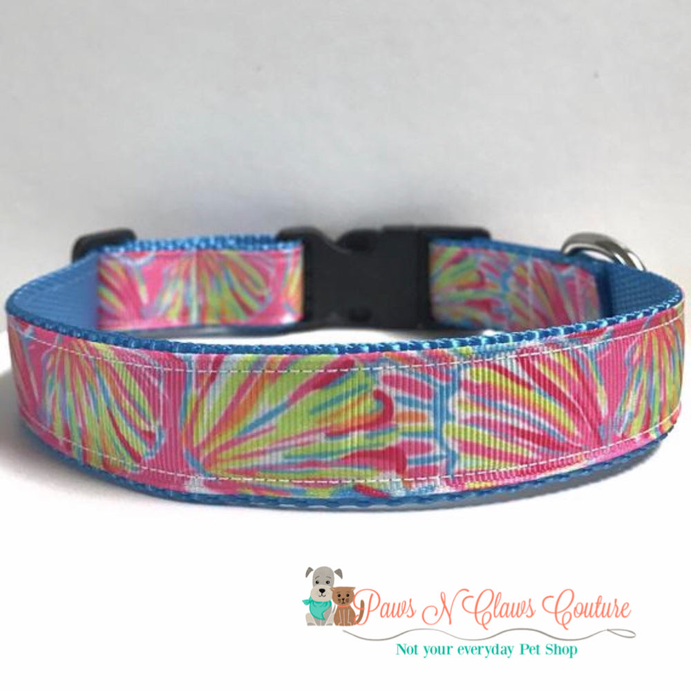 "1"" lily inspired Neon clams Dog Collar"