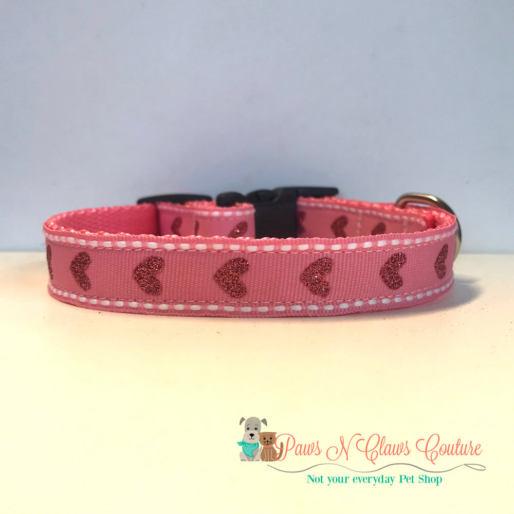 "5/8"" Glitter hearts on light pink Dog Collar - Paws N Claws Couture"