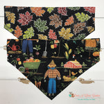 Reversible scarecrow and fall leaves Bandana - Paws N Claws Couture