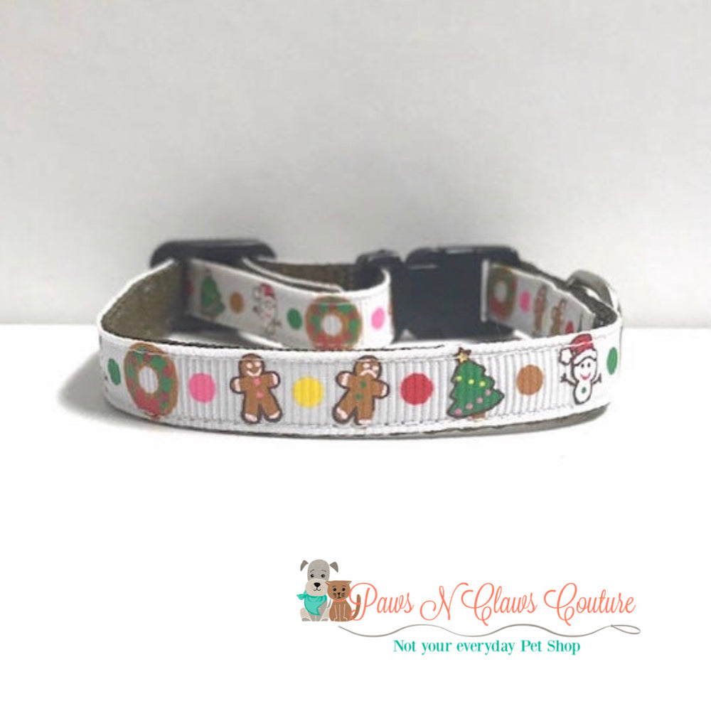 "3/8"" Christmas fun Cat or Small Dog Collar - Paws N Claws Couture"