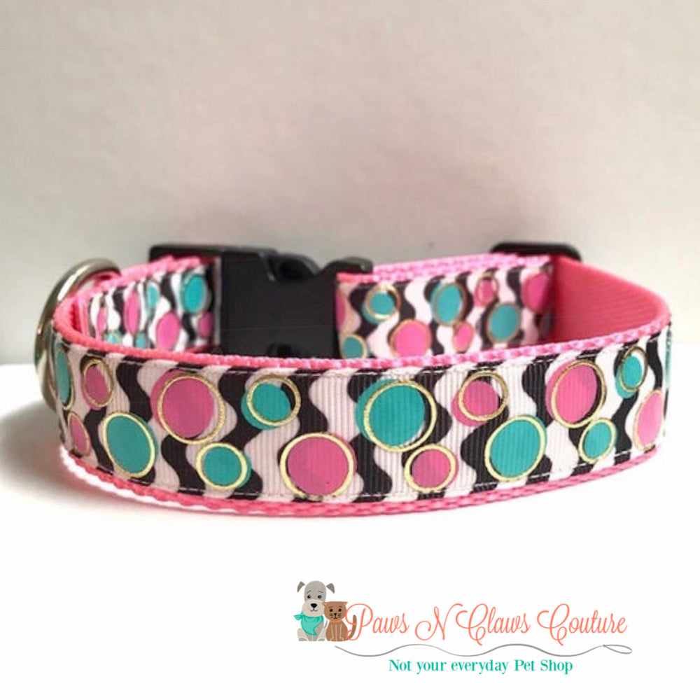 "1"" Chevron and Polka Dots Dog Collar - Paws N Claws Couture"