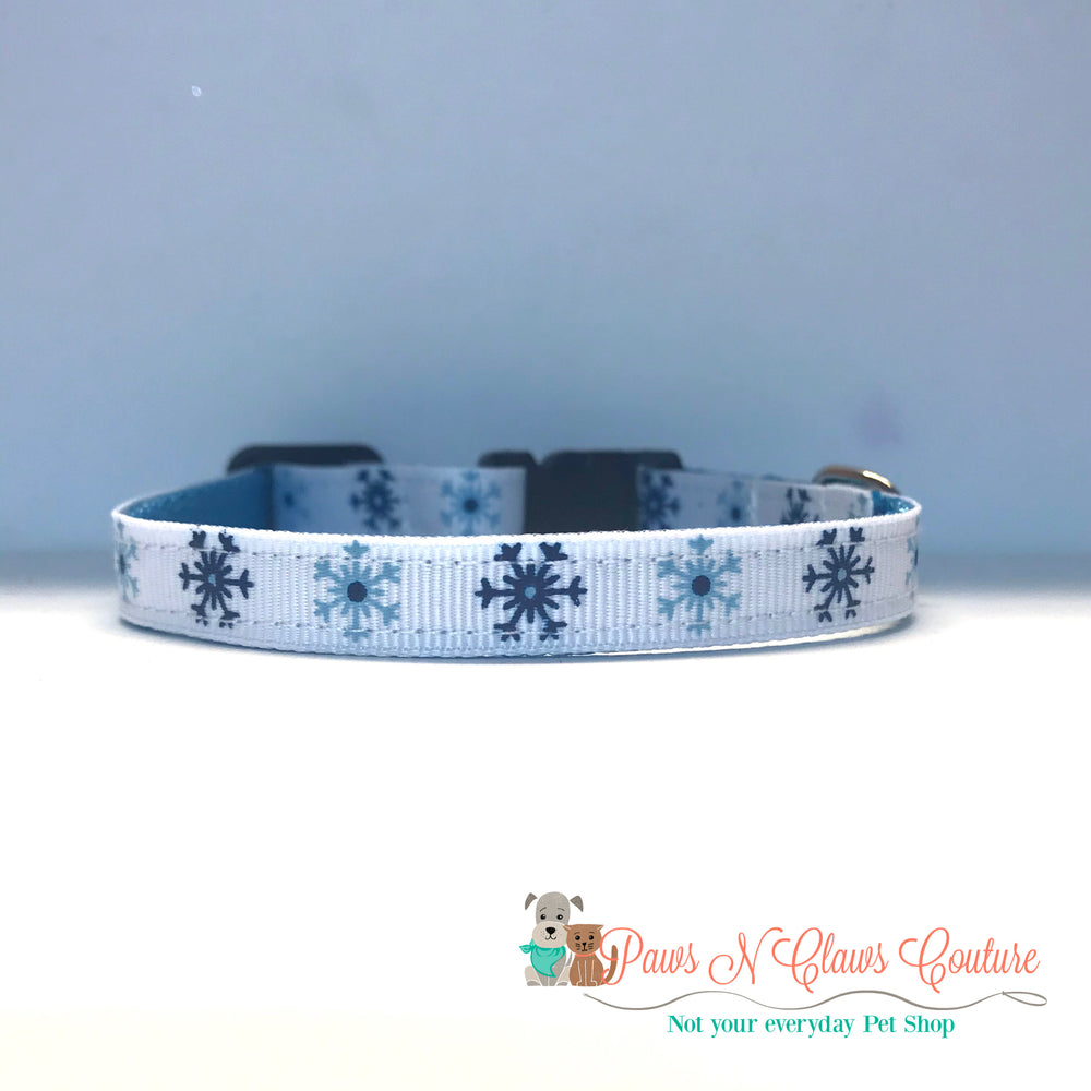 "3/8"" Blue snowflakes Cat or Small Dog Collar - Paws N Claws Couture"