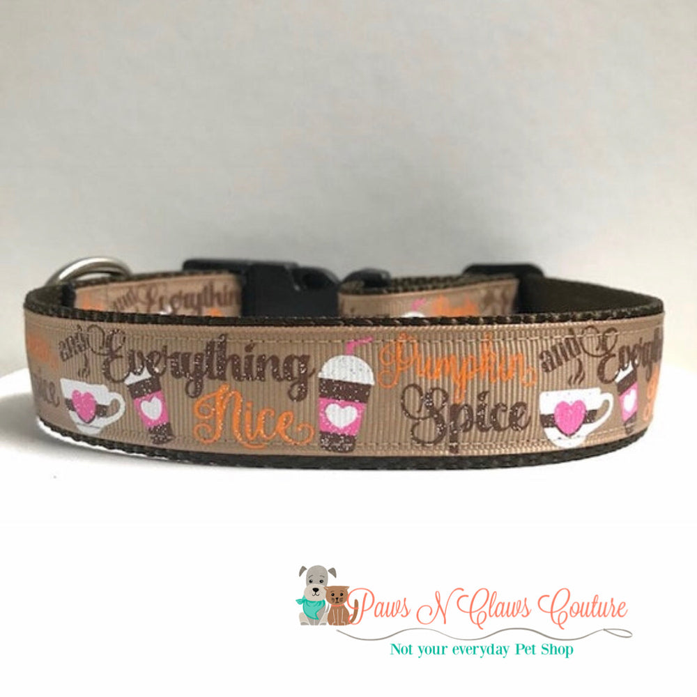 "1"" Pumpkin spice and everything nice Dog Collar - Paws N Claws Couture"