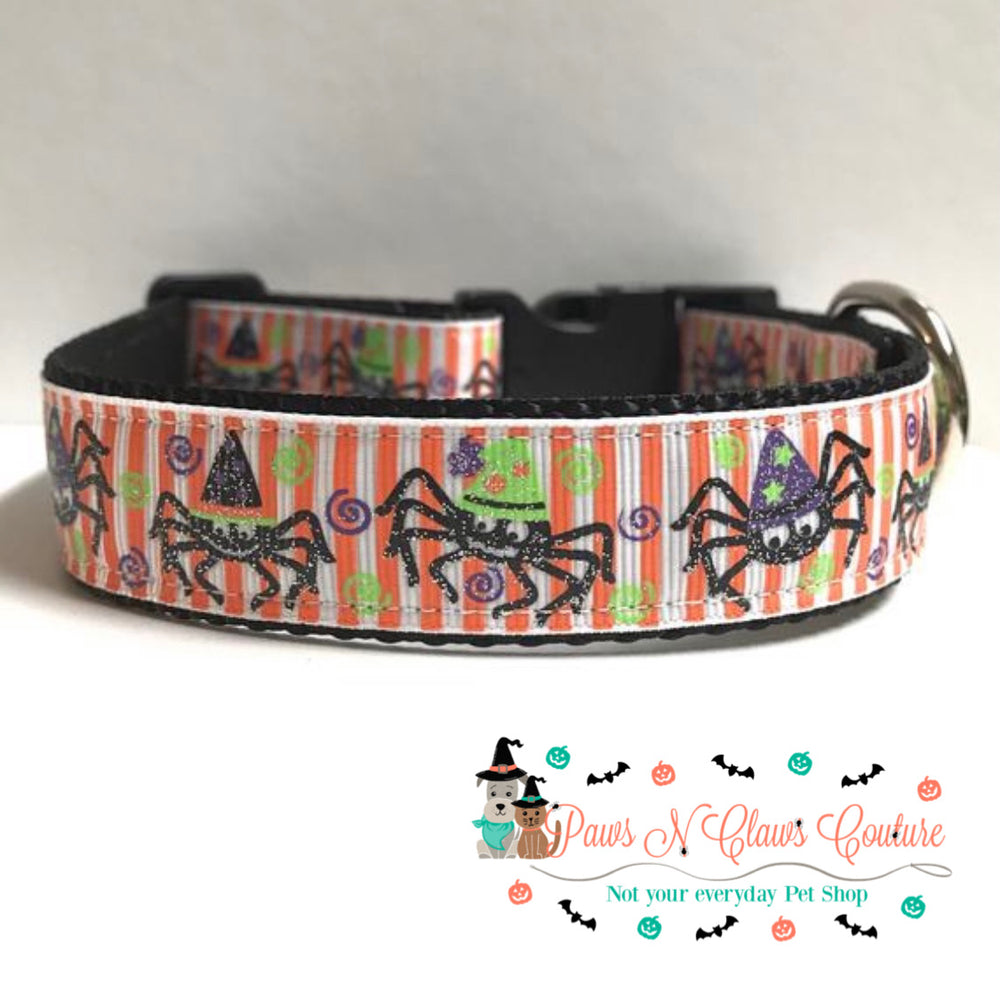 "1"" Witchy spiders Dog Collar"