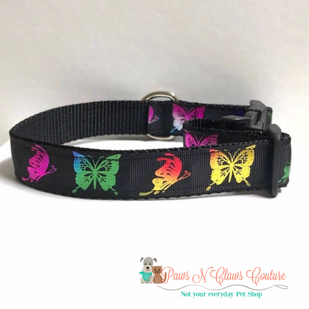 "1"" Foil butterflies on black Dog Collar - Paws N Claws Couture"
