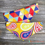 Reversible paisley and triangles Bandana - Paws N Claws Couture