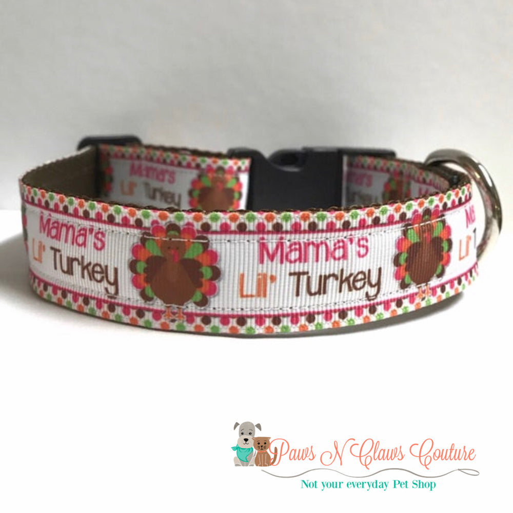 "1""  Mama's lil turkey Dog Collar"