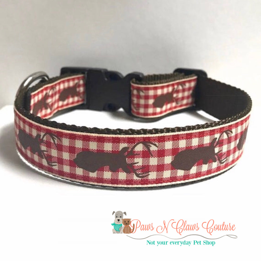 "1"" Deer and plaid Dog Collar, Leash Available"