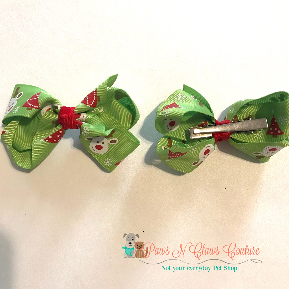 Reindeer and Christmas trees on light green hair clip - Paws N Claws Couture