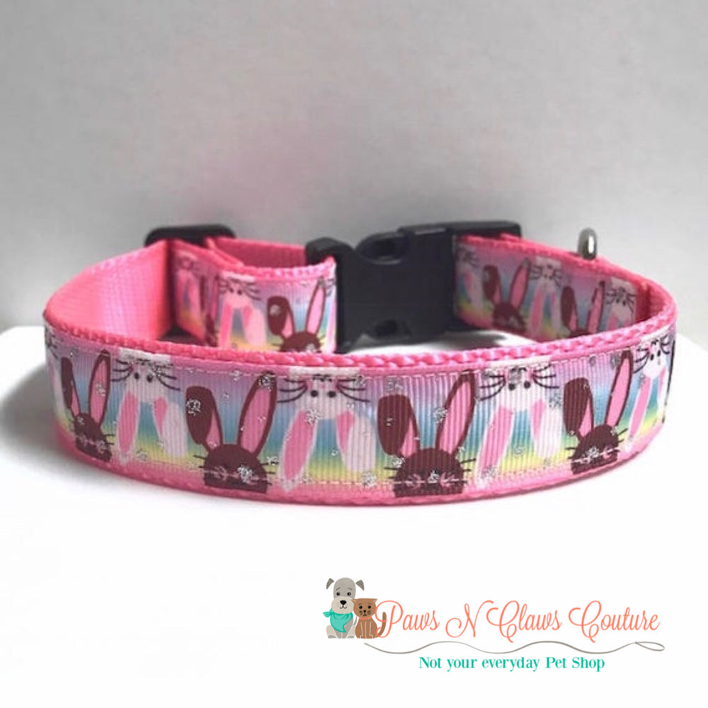 "1"" Bunnies on the flip side Dog Collar - Paws N Claws Couture"