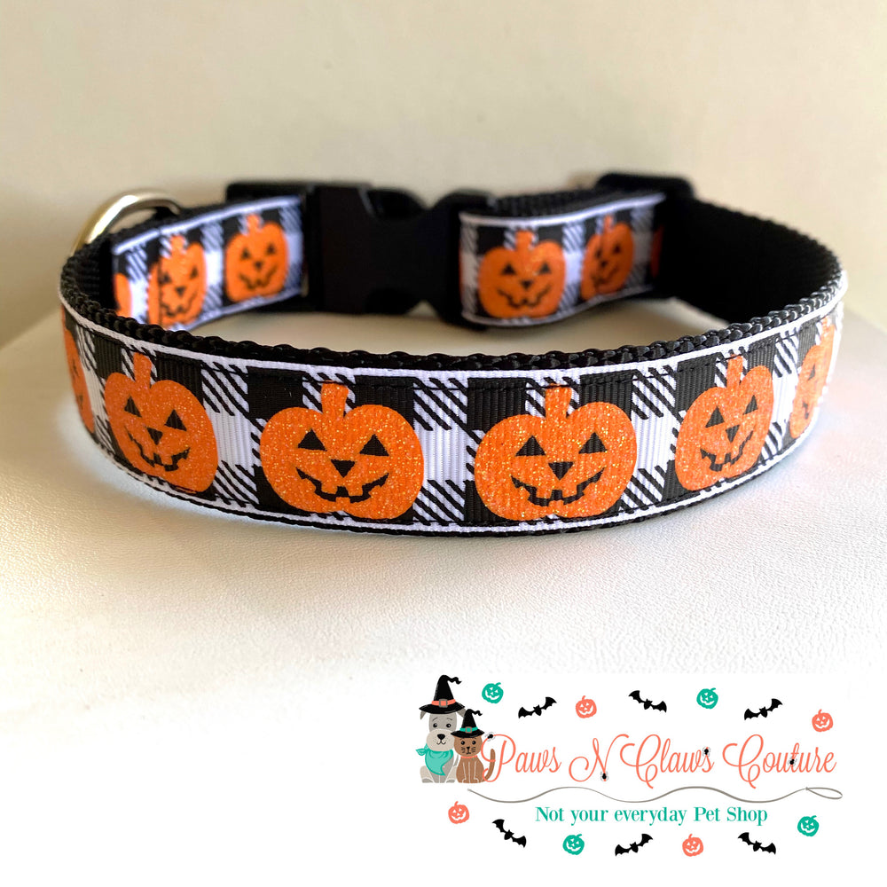 "1"" Plaid and Jack O Lanterns Dog Collar - Paws N Claws Couture"