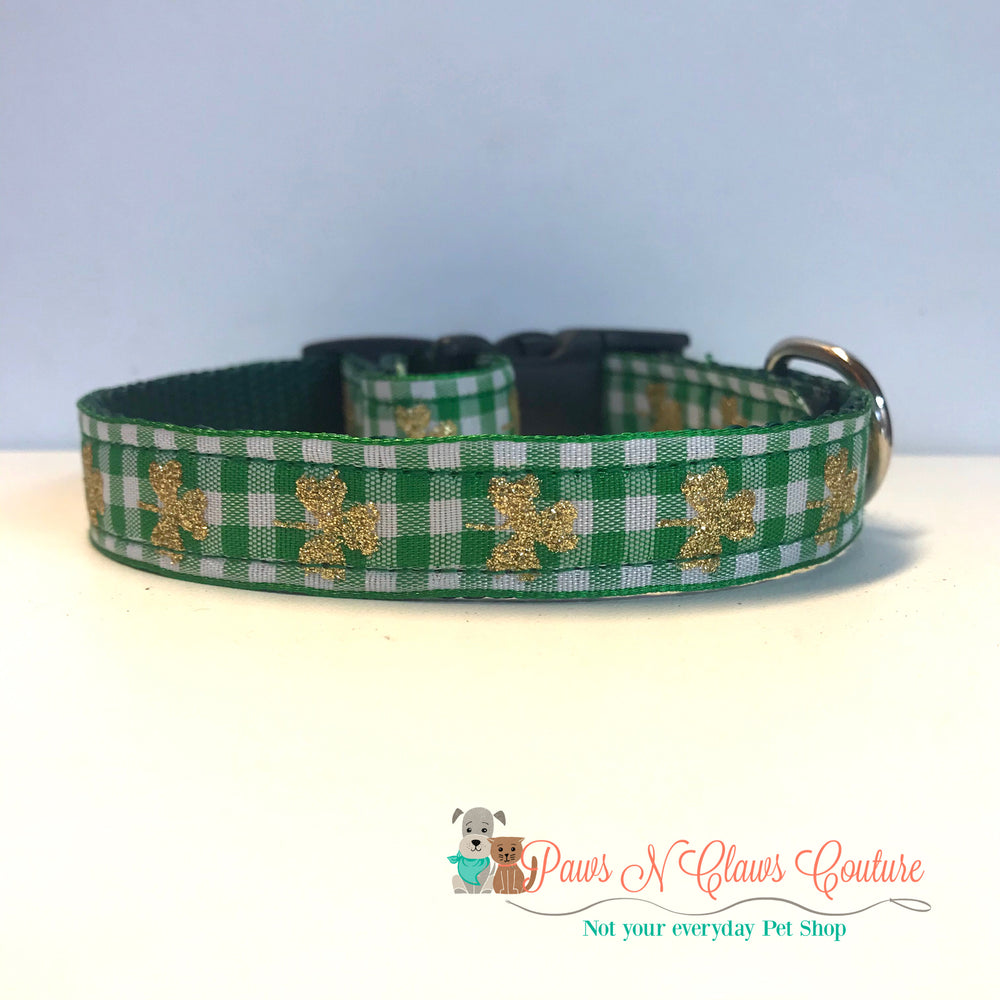 "5/8"" Glitter clovers on green plaid Dog Collar - Paws N Claws Couture"
